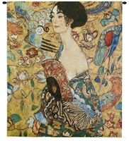 Gustav Klimt Lady With Fan Wall Tapestry C-3092, 3092-Wh, 3092C, 3092Wh, 40-49Incheswide, 47W, 50-59Inchestall, 52H, Abstract, Art, Artist, S, Brown, Carolina, USAwoven, Contemporary, Cotton, Fan, Folks, Gold, Green, Gustav, Hanging, Klimt, Lady, Man, Mixed, Modern, Orange, People, Person, Persons, Seller, Square, Tapastry, Tapestries, Tapestry, Tapistry, Wall, With, Woman, Women, Woven, Woven, Bestseller, tapestries, tapestrys, hangings, and, the