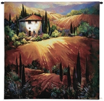 Tuscany Landscape II Wall Tapestry C-3332, 3332-Wh, 3332C, 3332Wh, 50-59Inchestall, 50-59Incheswide, 53H, 53W, Art, Carolina, USAwoven, Cotton, Earth, Erope, Europe, European, Eurupe, Field, Gold, Golden, Group, Hanging, Home, Ii, Italian, Italy, Landscape, Landscapes, Orange, Scene, Square, Tapestries, Tapestry, Tuscan, Tuscany, Urope, Wall, Woven, tapestries, tapestrys, hangings, and, the