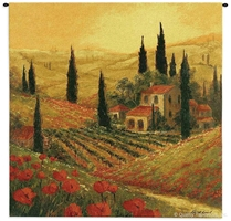Poppies of Tuscany Wall Tapestry C-3415, 3415-Wh, Ashley, 3415C, 3415Wh, 50-59Inchestall, 50-59Incheswide, 53H, 53W, Alcohol, Art, S, Botanical, Brown, Carolina, USAwoven, Cotton, Erope, Estate, Europe, European, Eurupe, Floral, Flower, Flowers, Gold, Hanging, Home, Italian, Italy, Landscape, Of, Pedals, Poppies, Red, Seller, Spirits, Square, Tapestries, Tapestry, Top50, Tuscan, Tuscany, Urope, Vineyard, Wall, Wine, Woven, Woven, Bestseller, tapestries, tapestrys, hangings, and, the, Poppies of Tuscany