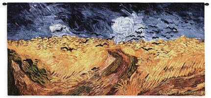 Van Gogh Wheatfield With Crows Wall Tapestry C-4110, 10-29Inchestall, 26H, 4110-Wh, 4110C, 4110Wh, 50-59Incheswide, 54W, Abstract, Art, Artist, Blue, Carolina, USAwoven, Contemporary, Cotton, Crows, Field, Gogh, Gold, Hanging, Horizontal, Modern, Painting, Panel, Purple, Tapastry, Tapestries, Tapestry, Tapistry, Van, Vincent, Wall, Wheat, Wheatfield, With, Woven, tapestries, tapestrys, hangings, and, the