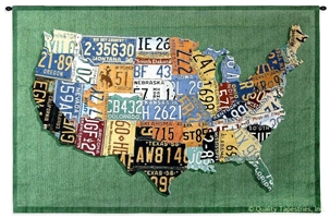 US License Plates II Wall Tapestry C-4453, 30-39Inchestall, 37H, 4453-Wh, 4453C, 4453Wh, 50-59Incheswide, 53W, America, American, Art, Carolina, USAwoven, Collage, Cotton, Green, Hanging, Horizontal, Ii, License, Map, Mixed, Of, Orange, Other, Plates, States, Tapestries, Tapestry, United, Us, Wall, Woven, tapestries, tapestrys, hangings, and, the
