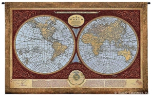 Vintage Old World Map Wall Tapestry C-4568M, 30-39Inchestall, 36H, 4568-Wh, 4568C, 4568Cm, 4568Wh, 4589-Wh, 4589C, 4589Wh, 50-59Inchestall, 50-59Incheswide, 53H, 53W, 70-79Incheswide, 76W, Ac, Antique, Art, Brown, Burgundy, Carolina, USAwoven, Cotton, Geographica, Grande, Hanging, Hemisphere, Hemispheres, Horizontal, Hydrographica, Map, Maps, Nova, Old, Olde, Orbis, Pangea, Red, Tabula, Tapestries, Tapestry, Terrae, Terrarum, Totius, Vintage, Wall, World, Woven, tapestries, tapestrys, hangings, and, the