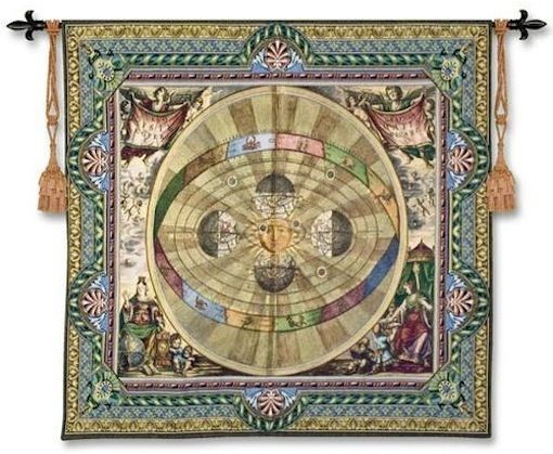 Copernican System Wall Tapestry C-4586, 4586-Wh, 4586C, 4586Wh, 50-59Inchestall, 50-59Incheswide, 52H, 57W, Antique, Art, Carolina, USAwoven, Copernican, Cotton, Grande, Green, Hanging, Hemisphere, Hemispheres, Map, Maps, Medieval, Old, Olde, Square, Sun, System, Tapestries, Tapestry, Vintage, Wall, World, Woven, tapestries, tapestrys, hangings, and, the