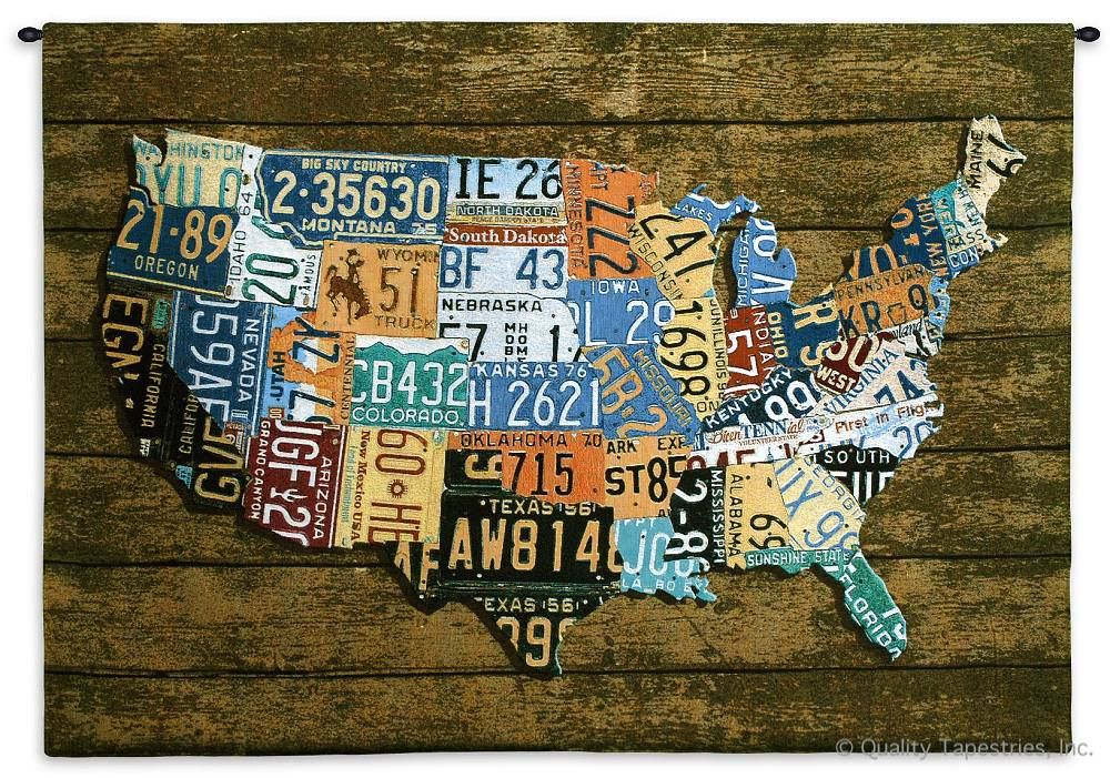 US License Plates III Wall Tapestry C-4829, 30-39Inchestall, 37H, 4829-Wh, 4829C, 4829Wh, 50-59Incheswide, 52W, America, American, Art, S, Brown, Carolina, USAwoven, Collage, Cotton, Hanging, Horizontal, Iii, License, Map, Mixed, Of, Orange, Other, Plate, Plates, Seller, States, Tags, Tapestries, Tapestry, United, Us, Usa, Wall, Wood, Woven, Woven, tapestries, tapestrys, hangings, and, the