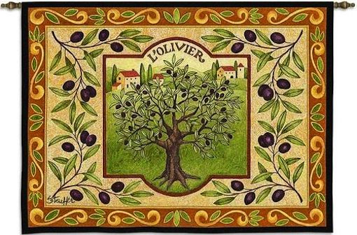 LOlivier Tuscan Olive Tree Wall Tapestry C-5199, 10-29Inchestall, 26H, 30-39Incheswide, 34W, 5199-Wh, 5199C, 5199Wh, Art, Botanical, Carolina, USAwoven, Cotton, Floral, Flower, Flowers, Green, Hanging, Horizontal, LOlivier, Olive, Orange, Pedals, Tapestries, Tapestry, Tree, Tuscan, Wall, Wine, Woven, tapestries, tapestrys, hangings, and, the