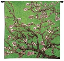 Van Gogh Cherry Blossom Wall Tapestry C-5514, 30-39Inchestall, 30-39Incheswide, 35H, 35W, 5514-Wh, 5514C, 5514Wh, Abstract, Art, Asia, Asian, Blossom, Bold, Carolina, USAwoven, Cherry, Chinese, Cotton, Gogh, Green, Hanging, Japanese, Orient, Oriental, Pink, Square, Tapestries, Tapestry, Tree, Van, Vincent, Wall, Woven, tapestries, tapestrys, hangings, and, the