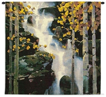 Mountain River Waterfall Wall Tapestry C-5754, 50-59Inchestall, 50-59Incheswide, 53H, 53W, 5754-Wh, 5754C, 5754Wh, Art, Birch, Black, Carolina, USAwoven, Cotton, Earth, Field, Hanging, Landscape, Landscapes, Mountain, River, Scene, Square, Tapestries, Tapestry, Tree, Trees, Wall, Waterfall, White, Woven, Yellow, tapestries, tapestrys, hangings, and, the