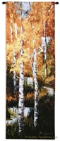 Autumn Birch Trees I Wall Tapestry C-6099, 10-29Incheswide, 26W, 6099-Wh, 6099C, 6099Wh, 70-79Inchestall, 76H, Art, Autumn, Birch, Carolina, USAwoven, Cotton, Group, Hanging, I, Orange, Tapestries, Tapestry, Tree, Trees, Vertical, Wall, Woven, tapestries, tapestrys, hangings, and, the