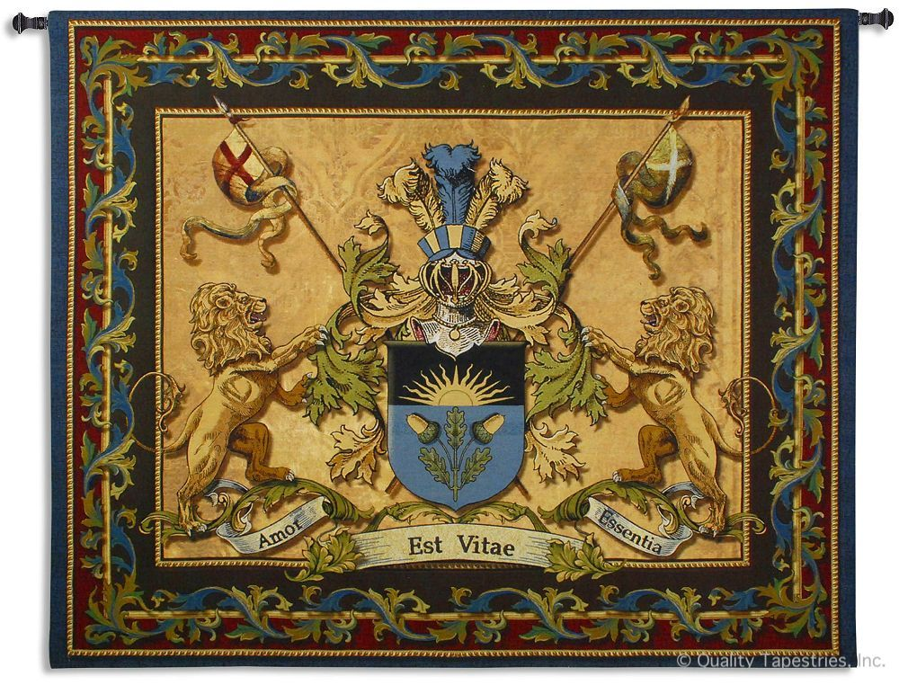 Lion Courage Coat of Arms Wall Tapestry C-6416, 50-59Inchestall, 53H, 60-69Incheswide, 6416-Wh, 6416C, 6416Wh, 64W, Arms, Art, Blue, Brown, Carolina, USAwoven, Coat, Cotton, Courage, Erope, Europe, European, Eurupe, Hanging, Lion, Medieval, Of, Old, Tapestries, Tapestry, Urope, Wall, World, Woven, Bestseller, tapestries, tapestrys, hangings, and, the