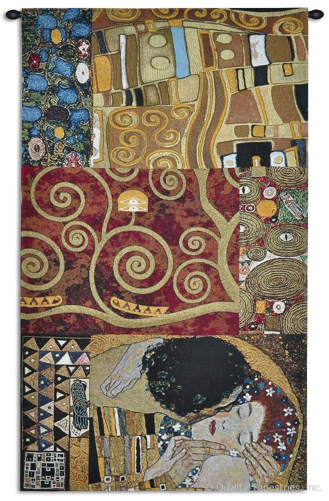 Gustav Klimt Elements to a Kiss Wall Tapestry C-6557, 30-39Incheswide, 34W, 50-59Inchestall, 59H, 6557-Wh, 6557C, 6557Wh, A, Abstract, Art, Brown, Carolina, USAwoven, Cotton, Elements, European, Famous, Gustav, Hanging, Kiss, Klimt, Large, People, Red, Tapastry, Tapestries, Tapestry, Tapistry, The, To, Vertical, Wall, Woven, tapestries, tapestrys, hangings, and, the