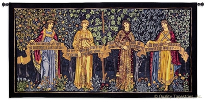Four Seasons William Morris Wall Tapestry C-6607, 100-200Incheswide, 100W, 50-59Inchestall, 50H, 6607-Wh, 6607C, 6607Wh, Art, Big, Biggest, Carolina, USAwoven, Cotton, Enormous, European, Extra, Four, Fruit, Group, Hanging, Horizontal, Huge, Large, Largest, Medieval, Morris, Old, Olde, Panel, Really, Seasons, Tapastry, Tapestries, Tapestry, Tapistry, Vintage, Wall, Wide, William, World, Woven, Bestseller, tapestries, tapestrys, hangings, and, the