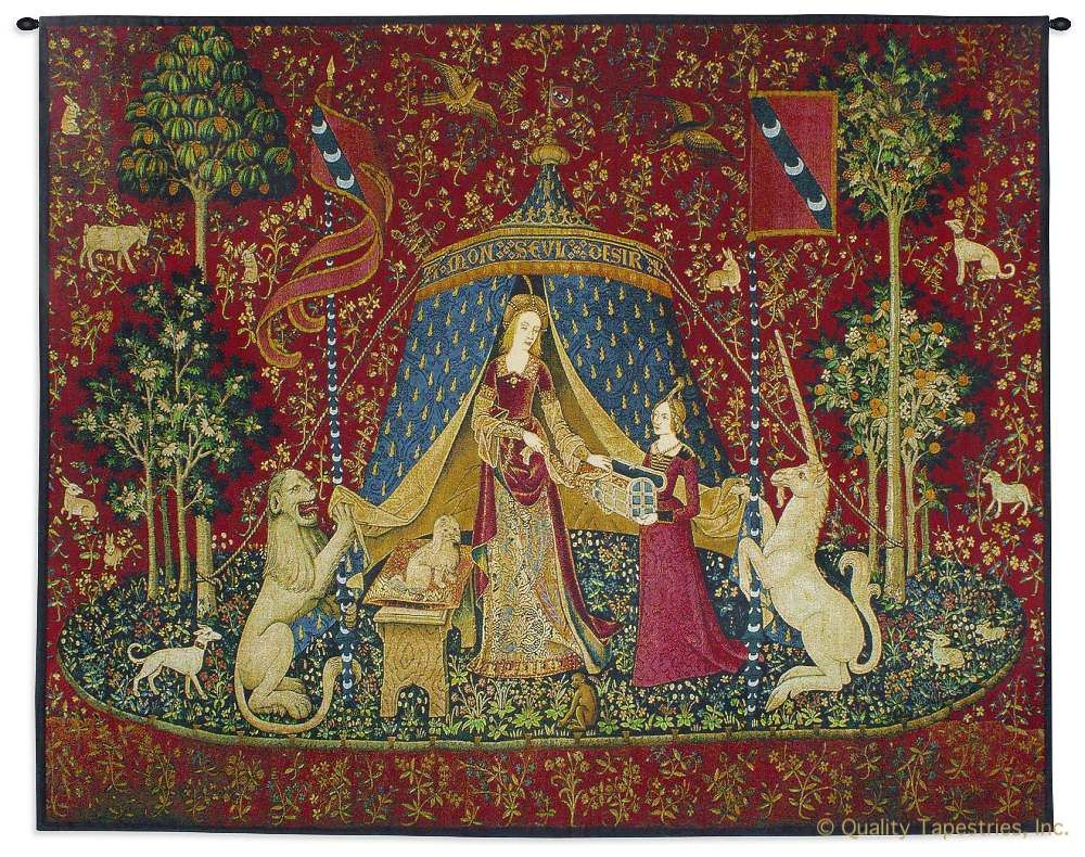 Lady and the Unicorn My Only Desire Wall Tapestry C-6700, 15Th, 50-59Inchestall, 51H, 60-69Incheswide, 62W, 6700-Wh, 6700C, 6700Wh, A, Ancient, And, Antique, Art, Belgian, Belgium, Carolina, USAwoven, Century, Cotton, Desire, Europe, European, Famous, Flemish, Horizontal, Horse, Lady, Large, Masterpiece, Medieval, Mon, My, New, Old, Olde, Only, Red, Reproduction, Sense, Seul, Tapestries, Tapestry, Tapistry, The, To, Unicorn, Vintage, Wall, With, Woman, World, Bestseller, tapestries, tapestrys, hangings, and, the