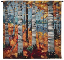 Birch Trees in Autumn Wall Tapestry C-6868M, 44H, 44W, 50-59Inchestall, 50-59Incheswide, 53H, 53W, 6665-Wh, 6665C, 6665Wh, 6868-Wh, 6868C, 6868Cm, 6868Wh, Art, Autumn, Birch, Blue, Bold, Carolina, USAwoven, Cotton, Hanging, In, Orange, Square, Tapestries, Tapestry, Trees, Wall, Woven, Bestseller, tapestries, tapestrys, hangings, and, the