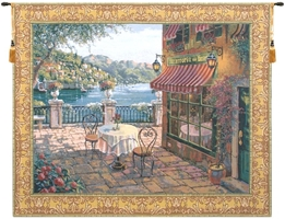 Trattoria Table for Two Belgian Wall Tapestry W-1652, 30-39Inchestall, 35H, 39H, 40-49Inchestall, 40-49Incheswide, 43W, 47H, 50-59Incheswide, 51W, 59W, 60-69Inchestall, 63H, 70-79Incheswide, 77W, Belgian, Bob, Border, Coast, Collection, Como, Gold, Green, Horizontal, Italian, Lake, Pejman, Purple, Robert, Tapestry, Terrace, Wall, Bestseller, Belgianwoven, Europeanwoven, Italiancoast, Terrasse, italy, compania, campania, cafe, table, border, gold, tapestries, tapestrys, hangings, and, the, restaurant, Lake, Como, Terrace, cafe