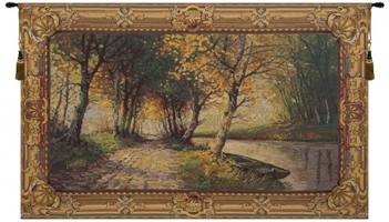 Automne Belgian Wall Tapestry W-1662, 100-200Incheswide, 100W, 40-49Inchestall, 40H, 60-69Inchestall, 60-69Incheswide, 60H, 66W, 80-99Incheswide, Automne, Belgian, Big, Gold, Green, Horizontal, Large, Really, Tapestry, Wall, Belgianwoven, Europeanwoven, tapestries, tapestrys, hangings, and, the, autumn, fall, trees