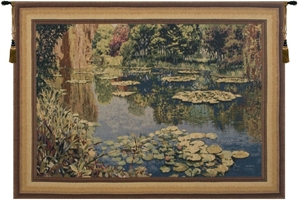 Lake Giverny With Border Belgian Wall Tapestry W-1668, 30-39Inchestall, 33H, 40-49Inchestall, 40-49Incheswide, 43W, 49H, 60-69Inchestall, 66W, 67H, 80-99Incheswide, 88W, Art, Belgian, Big, Border, Brown, Claude, Cotton, Europe, European, Giverny, Grande, Green, Hanging, Horizontal, Lake, Landscape, Large, Lilies, Lily, Medieval, Monet, Of, Old, Olde, Pond, Really, Tapastry, Tapestries, Tapestry, Tapistry, Wall, With, World, Woven, Belgianwoven, Europeanwoven, tapestries, tapestrys, hangings, and, the