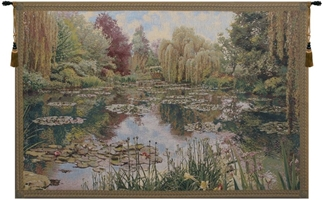 Monet Horizontal (Small) Belgian Wall Tapestry W-1669, (Small), 40-49Inchestall, 40H, 50-59Incheswide, 58W, Belgian, Border, Green, Horizontal, Monet, Tapestry, Wall, Belgianwoven, Europeanwoven, tapestries, tapestrys, hangings, and, the
