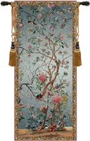 Spring Blossom Belgian Wall Tapestry W-1680, 10-29Incheswide, 28W, 60-69Inchestall, 65H, Belgian, Blossom, Blue, Spring, Tapestry, Vertical, Wall, Belgianwoven, Europeanwoven, tapestries, tapestrys, hangings, and, the