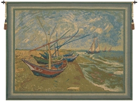 Van Goghs Fishing Boats Belgian Wall Tapestry W-1717, 30-39Inchestall, 30-39Incheswide, 31H, 38W, Belgian, Boats, Border, Brown, Fishing, GoghS, Gray, Horizontal, Tapestry, Van, Wall, Belgianwoven, Europeanwoven, tapestries, tapestrys, hangings, and, the