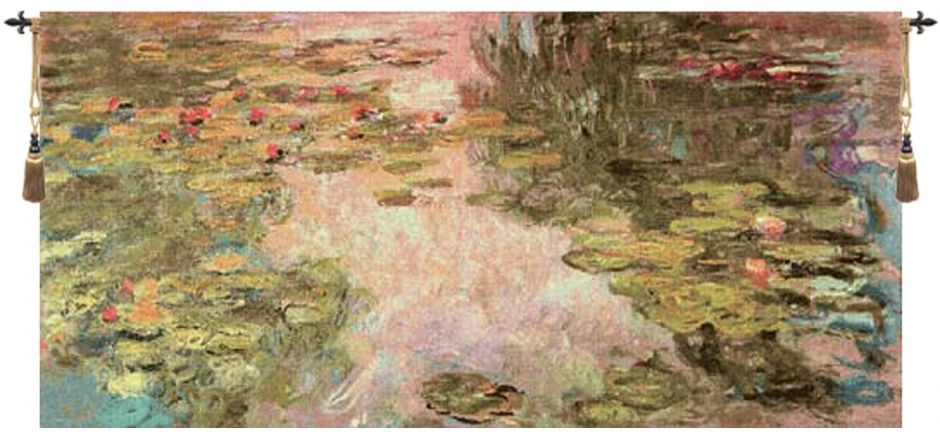 Monets Style Belgian Wall Tapestry W-1745, 40-49Inchestall, 40H, 80-99Incheswide, 82W, Belgian, Big, Green, Horizontal, Large, MonetS, Pink, Really, Style, Tapestry, Wall, White, Belgianwoven, Europeanwoven, tapestries, tapestrys, hangings, and, the, wool