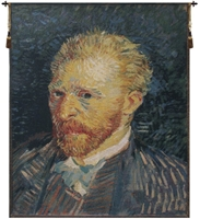 Van Gogh Self Portrait Belgian Wall Tapestry W-1746, 30-39Incheswide, 39W, 40-49Inchestall, 48H, Abstract, Art, Belgian, Blue, Cotton, Dark, Europe, European, Famous, Gogh, Gold, Grande, Hanging, Navy, Of, Old, Olde, Portrait, Purple, Self, Tapastry, Tapestries, Tapestry, Tapistry, The, Van, Vertical, Wall, World, Woven, Yellow, Belgianwoven, Europeanwoven, tapestries, tapestrys, hangings, and, the, wool