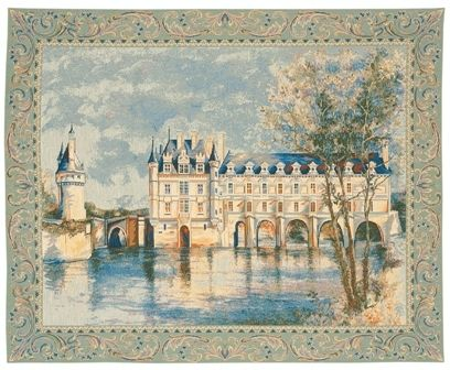 Chenonceau Castle I French Wall Tapestry W-183, 10-29Inchestall, 10-29Incheswide, 17H, 22W, 27H, 30-39Inchestall, 30-39Incheswide, 33W, 36H, 40-49Incheswide, 43W, Art, Blue, Castle, Chateau, Chenonceau, Cotton, Cream, Europe, European, France, French, Grande, Hanging, Horizontal, I, Medieval, Of, Old, Olde, Palace, Tapastry, Tapestries, Tapestry, Tapistry, Wall, White, World, Woven, Frenchwoven, Europeanwoven, tapestries, tapestrys, hangings, and, the