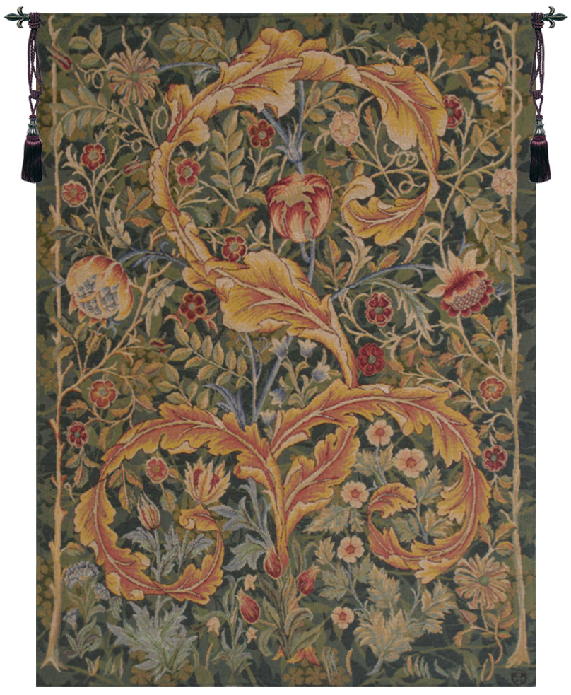 Acanthe Green French Wall Tapestry acanthus, acanthes, marron, tapestries, tapestrys, hangings, and, the, wool, pansu, W-11725, W-11726