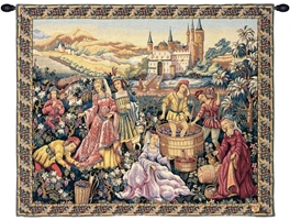 Vendanges au Chateau French Wall Tapestry W-3554, 30-39Inchestall, 36H, 40-49Incheswide, 44W, 50-59Inchestall, 50H, 60-69Incheswide, 60W, Art, Au, Castle, Chateau, Collection, Cotton, Europe, European, France, French, Grande, Grape, Grapes, Green, Hanging, Harvest, Horizontal, Medieval, Of, Old, Olde, Palace, People, Tapastry, Tapestries, Tapestry, Tapistry, Vendange, Vendanges, Vendage, Vendages, Tardive, Late, Harvest, Vineyard, Wall, Wine, World, Woven, Yellow, Frenchwoven, Europeanwoven, tapestries, tapestrys, hangings, and, the, wool, Renaissance, rennaisance, rennaissance, renaisance, renassance, renaissanse, pansu