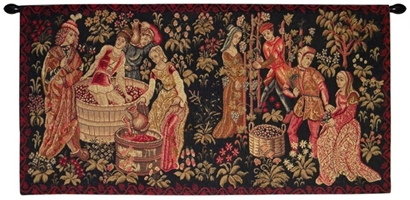 Le Vin Et la Vigne French Wall Tapestry W-3598, (Loops), 10-29Inchestall, 16H, 23H, 30-39Incheswide, 33W, 40-49Incheswide, 44W, Dark, Et, French, Grapes, Green, Harvest, Horizontal, La, Le, Plants, Tapestry, Vendange, Vendanges, Vendage, Vendages, Tardive, Late, Harvest, Vigne, Vin, Wall, Frenchwoven, Europeanwoven, tapestries, tapestrys, hangings, and, the, Renaissance, rennaisance, rennaissance, renaisance, renassance, renaissanse, pansu