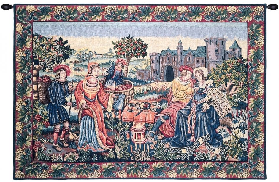 Repas de Vendanges French Wall Tapestry W-3617, 10-29Inchestall, 26H, 40-49Incheswide, 40W, Art, Brown, Castle, Chateau, Cotton, De, Europe, European, France, French, Grande, Grape, Grapes, Hanging, Harvest, Horizontal, Medieval, Of, Old, Olde, Palace, People, Repas, Tapastry, Tapestries, Tapestry, Tapistry, Vendange, Vendanges, Vendage, Vendages, Tardive, Late, Harvest, Vineyard, Wall, Wine, World, Woven, Frenchwoven, Europeanwoven, tapestries, tapestrys, hangings, and, the, Renaissance, rennaisance, rennaissance, renaisance, renassance, renaissanse