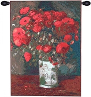 Van Gogh Poppies French Wall Tapestry W-3819, 10-29Inchestall, 10-29Incheswide, 18W, 25H, Abstract, Art, Bouquet, Cotton, Europe, European, Floral, Flower, Flowers, France, French, Gogh, Grande, Hanging, Of, Old, Olde, Poppies, Red, Tapastry, Tapestries, Tapestry, Tapistry, The, Van, Vertical, Wall, World, Woven, Frenchwoven, Europeanwoven, tapestries, tapestrys, hangings, and, the