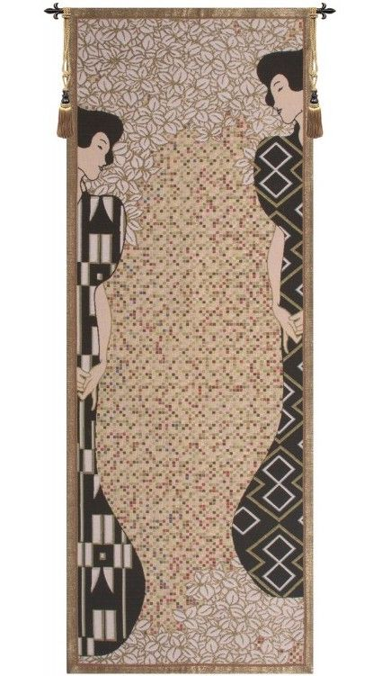 Gustav Klimt Silhouettes French Wall Tapestry W-3867, 10-29Incheswide, 28W, 70-79Inchestall, 78H, Abstract, Accomplishment, Art, Black, Brown, Cotton, Cream, Europe, European, France, French, Grande, Gustav, Hanging, Klimt, Medieval, Of, Old, Olde, Silhouettes, Tapastry, Tapestries, Tapestry, Tapistry, The, Vertical, Wall, World, Woven, Frenchwoven, Europeanwoven, tapestries, tapestrys, hangings, and, the