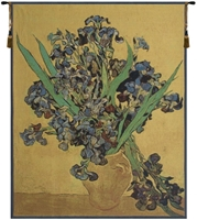 Van Gogh Iris Gold Belgian Wall Tapestry W-3921, Iris, 10-29Incheswide, 28W, 30-39Inchestall, 30-39Incheswide, 36H, 36W, 40-49Inchestall, 45H, Belgian, Blue, Brown, Cream, Gogh, Gold, Tapestry, Van, Vertical, Wall, White, Belgianwoven, Europeanwoven, tapestries, tapestrys, hangings, and, the