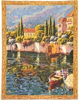 Lake Como Varenna Reflections Mini Belgian Wall Tapestry W-3931, 10-29Inchestall, 10-29Incheswide, 20W, 26H, Belgian, Blue, Border, Como, Gold, Green, Lake, Mini, Reflections, Tapestry, Varenna, Vertical, Wall, Yellow, Belgianwoven, Europeanwoven, tapestries, tapestrys, hangings, and, the