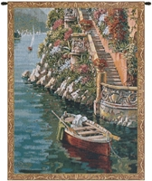 Lake Como Villa Mini Belgian Wall Tapestry W-3935, 10-29Inchestall, 10-29Incheswide, 20W, 26H, Belgian, Border, Como, Gold, Green, Lake, Mini, Red, Tapestry, Vertical, Villa, Wall, Yellow, Belgianwoven, Europeanwoven, tapestries, tapestrys, hangings, and, the