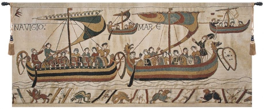 Bayeux Navigio Belgian Wall Tapestry W-3941, 10-29Inchestall, 14H, 16H, 26H, 30-39Inchestall, 30-39Incheswide, 32W, 35H, 38W, 60-69Incheswide, 61W, 80-99Incheswide, 83W, Bayeux, Belgian, Big, Cream, Horizontal, Large, Light, Navigio, Really, Tapestry, Wall, White, Belgianwoven, Europeanwoven, tapestries, tapestrys, hangings, and, the