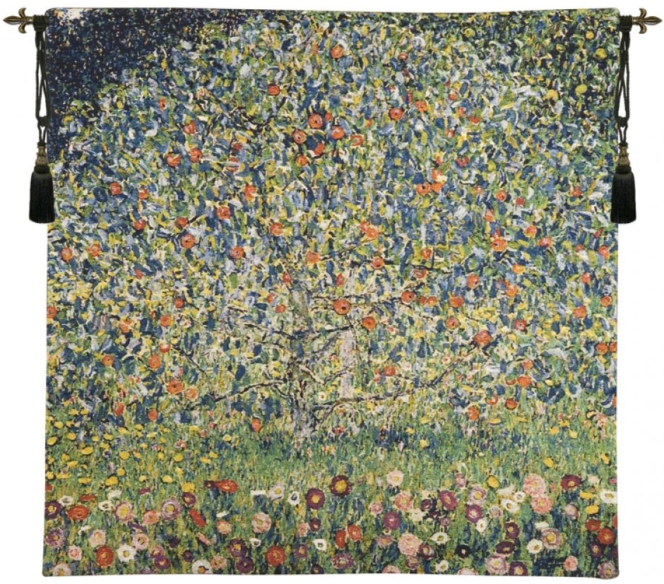 Gustav Klimt Apple Tree Belgian Wall Tapestry W-4968, 30-39Inchestall, 30-39Incheswide, 39H, 39W, 60-69Inchestall, 60-69Incheswide, 66H, 66W, Apple, Belgian, Blue, Floral, Flowers, Green, Gustav, Klimt, Mixed, Square, Tapestry, Tree, Wall, Yellow, Belgianwoven, Europeanwoven, tapestries, tapestrys, hangings, and, the