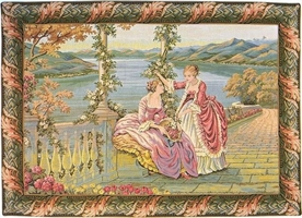 Lake Como Ladies Italian Wall Tapestry W-527, 10-29Inchestall, 24H, 30-39Incheswide, 34W, Art, Brown, Como, Cotton, Europe, European, Grande, Green, Hanging, Horizontal, Italian, Italy, Ladies, Lake, Landscape, Medieval, Old, Olde, Pink, Tapastry, Tapestries, Tapestry, Tapistry, Vintage, Wall, World, Woven, Italianwoven, Europeanwoven, tapestries, tapestrys, hangings, and, the, Renaissance, rennaisance, rennaissance, renaisance, renassance, renaissanse