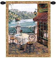 Lake Como Terrace Mini Belgian Wall Tapestry W-5345, 10-29Inchestall, 10-29Incheswide, 20W, 26H, Belgian, Blue, Border, Como, Gold, Green, Lake, Mini, Red, Tapestry, Terrace, Vertical, Wall, Belgianwoven, Europeanwoven, tapestries, tapestrys, hangings, and, the