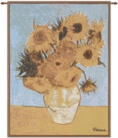 Van Gogh Sunflowers French Wall Tapestry W-5800, 10-29Inchestall, 10-29Incheswide, 18W, 25H, Abstract, Art, Blue, Cotton, Europe, European, Floral, France, French, Gogh, Gold, Grande, Hanging, Of, Old, Olde, Sunflowers, Tapastry, Tapestries, Tapestry, Tapistry, The, Van, Vertical, Wall, World, Woven, Yellow, Frenchwoven, Europeanwoven, tapestries, tapestrys, hangings, and, the