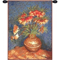 Van Gogh Lilies French Wall Tapestry W-5802, 10-29Inchestall, 10-29Incheswide, 18W, 25H, Abstract, Art, Blue, Cotton, Europe, European, Floral, France, French, Gogh, Grande, Hanging, Lilies, Of, Old, Olde, Orange, Tapastry, Tapestries, Tapestry, Tapistry, The, Van, Vertical, Wall, World, Woven, Frenchwoven, Europeanwoven, tapestries, tapestrys, hangings, and, the