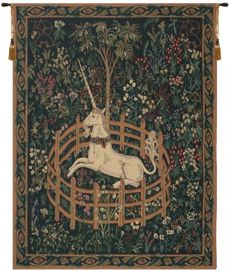 Unicorn In Captivity II with Border Belgian Wall Tapestry Hanging, Tapestries, Woven, tapestries, tapestrys, hangings, and, the, Renaissance, rennaisance, rennaissance, renaisance, renassance, renaissanse