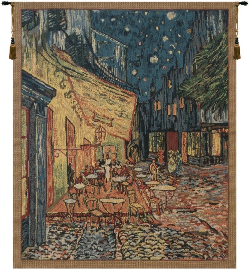 Van Gogh Terrace Belgian Wall Tapestry Hanging, Tapestries, Woven, cafe, terrace, at, night, tapestries, tapestrys, hangings, and, the