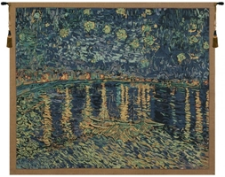 Van Gogh Starry Night Over the Rhone Belgian Wall Tapestry Hanging, Tapestries, Woven, tapestries, tapestrys, hangings, and, the