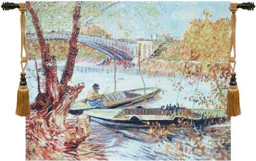 Van Gogh Fishing in the Spring I Belgian Wall Tapestry Hanging, Tapestries, Woven, tapestries, tapestrys, hangings, and, the