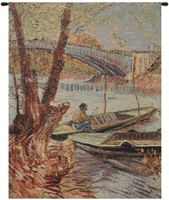 Van Gogh Fishing in the Spring II Belgian Wall Tapestry Hanging, Tapestries, Woven, tapestries, tapestrys, hangings, and, the