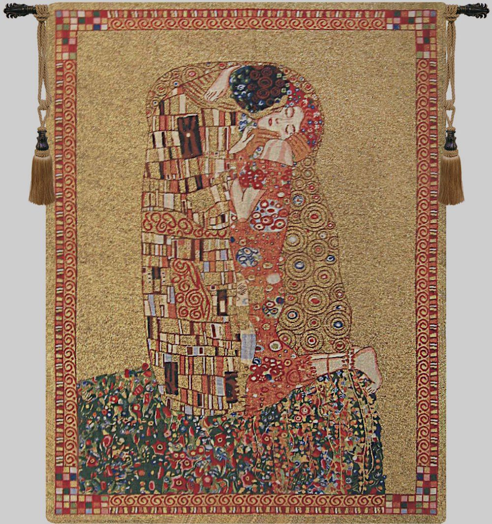 Gustav Klimt Kiss Belgian Wall Tapestry Hanging, Tapestries, Woven, tapestries, tapestrys, hangings, and, the