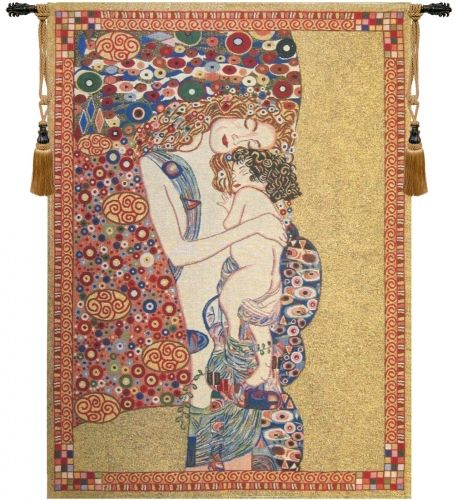 Gustav Klimt Mother and Child Belgian Wall Tapestry Hanging, Tapestries, Woven, tapestries, tapestrys, hangings, and, the