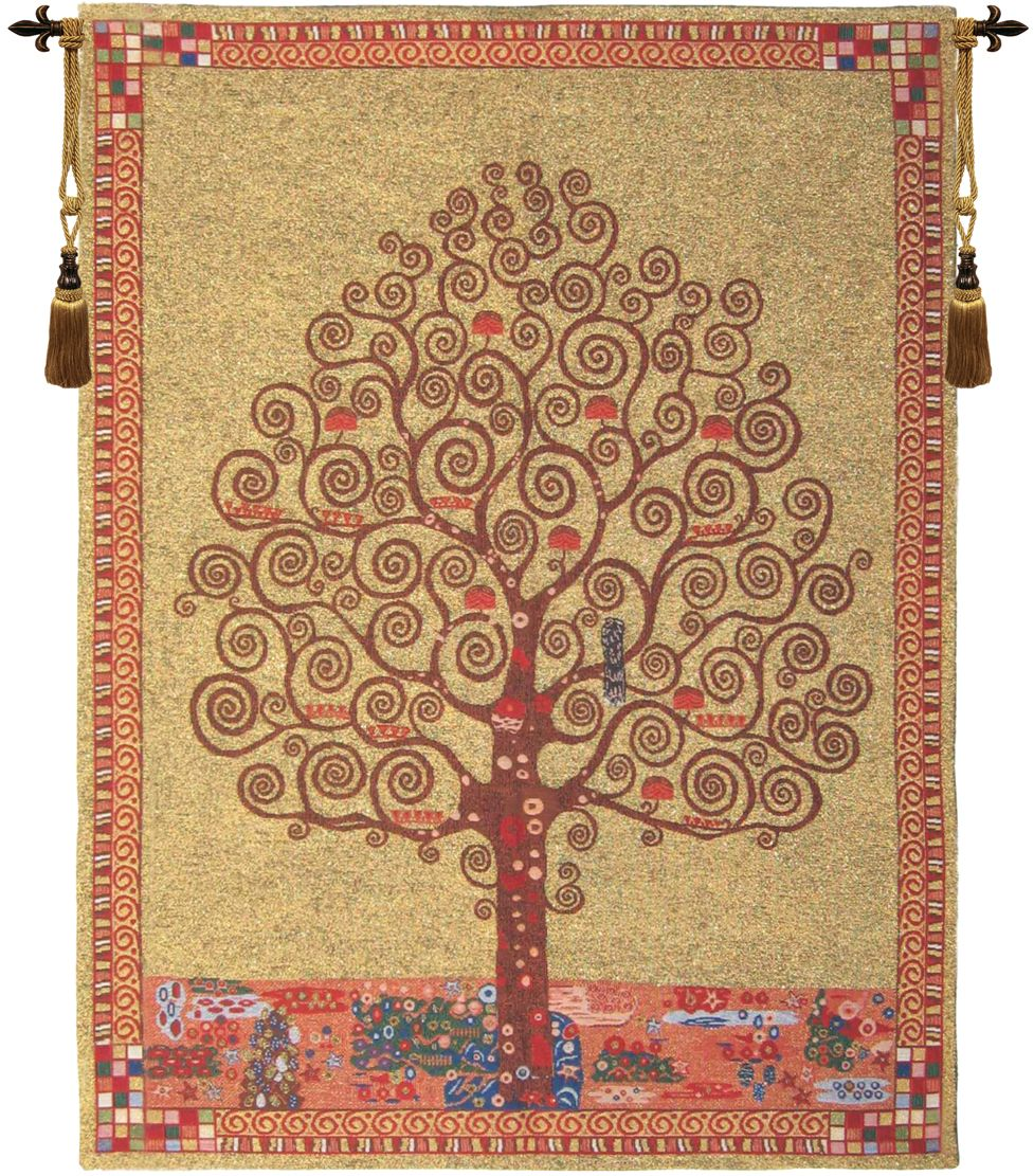 Gustav Klimt Tree of Life III Belgian Wall Tapestry Hanging, Tapestries, Woven, tapestries, tapestrys, hangings, and, the