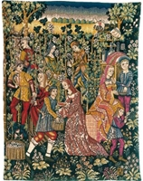 Grape Picking French Wall Tapestry W-7075, 30-39Inchestall, 30-39Incheswide, 30W, 37H, 39W, 50-59Inchestall, 51H, Cueillette, Dark, Floral, Flowers, French, Grape, Grapes, Harvest, La, Plants, Tapestry, Vendange, Vendanges, Vendage, Vendages, Tardive, Late, Harvest, Vertical, Wall, Wine, Frenchwoven, Europeanwoven, tapestries, tapestrys, hangings, and, the, wool, Renaissance, rennaisance, rennaissance, renaisance, renassance, renaissanse, pansu